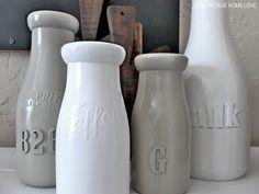 DIY : Lijm letters en cijfers op potten en vaasjes en schilder ze. Mooie kleuren