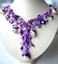 Beaded jewelry. Freeform Peyote Necklace, ooak Jewelry, purple, lilac, lavender, shell, unique gifts, summer fashion. $85.00, via Etsy.