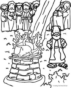 Elijah And The Prophets Of Baal (Coloring Page) Coloring pages are a great way to end a Sunday School lesson. They can serve as a great take home activity. Or sometimes you just need to fill in tho… Preschool Bible, Bible Activities, Bible Story Crafts, Bible Stories, Bible Lessons For Kids, Bible For Kids, Sunday School Lessons, Sunday School Crafts, Elias Biblia