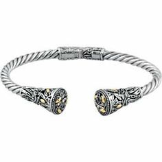 Sterling Silver & 18K Yellow Gold 07.00 INCHES HINGED CUFF BRACELET Hinged Cuff Bracelet Jewelry Adviser Cuff Bracelets. $312.39