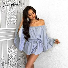 1245152369 Simplee Sexy off shoulder flare sleeve jumpsuit romper Elegant bow ruffle  women overalls Causal blue summer beach playsuit
