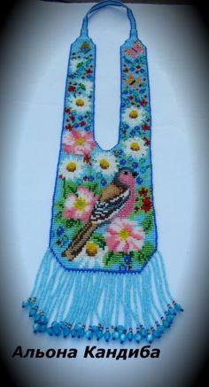 "Авторський гердан "" Спів пташиний дарує весна"" — Бисерный Дайджест Beaded Necklace Patterns, Beaded Jewelry, Bead Loom Patterns, Beading Patterns, Collar Indio, Donia, Bead Loom Bracelets, Native American Beadwork, Beaded Animals"