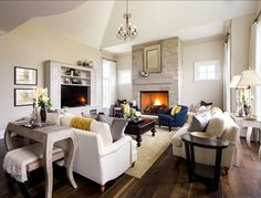 Family Room. Family Room Design. Great family room furniture layout and color palette. Designed by Jane Lockhart.