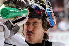 11.27.13 - Goalie David Leggio cooling down.  Photo courtesy of JustSports Photography