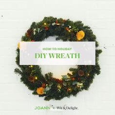 You only need a few items to add some excitement to your holiday wreath. Incorporate additional florals and greenery in varying shapes and texture to add visual interest. Pro tip: add an unexpected color to elevate your holiday wreath. #handmadewithjoann