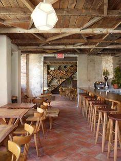 design between studs & pentagon light for ceiling. Rugged Geometry in Brooklyn: Isa Restaurant : Remodelista