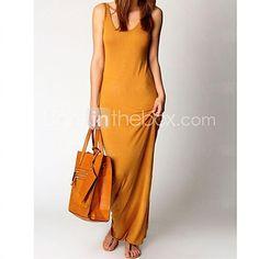 Women's Deep U Dress , Spandex/Polyester Maxi Sleeveless - USD $9.99