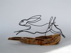 Bunny Wire Sculpture Reserved for Falkner Design by WiredbyBud Steel Sculpture, Sculpture Art, Wire Sculptures, Abstract Sculpture, Bronze Sculpture, Wire Crafts, Metal Crafts, Wire Wall Art, Art Fil