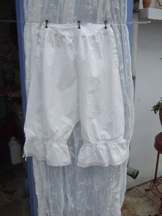 Antique French Ladies Undergarments. Pantalettes, Bloomers, Mid 1800s. Monogram MG, Cluny Lace.
