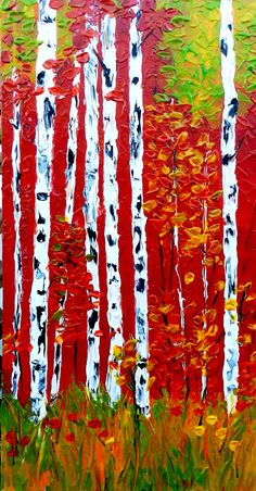 Reaching, Original Textured Acrylic Painting  #art #aspens #painting #acrylicpainting