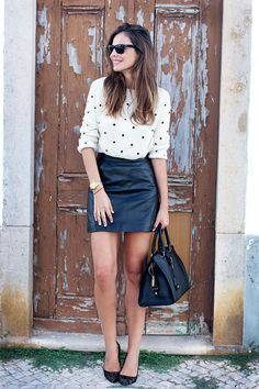 Cropped top + leather skirt