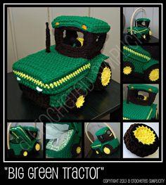 Crochet Pattern Big Green Tractor Basket by ACrochetedSimplicity, $5.00