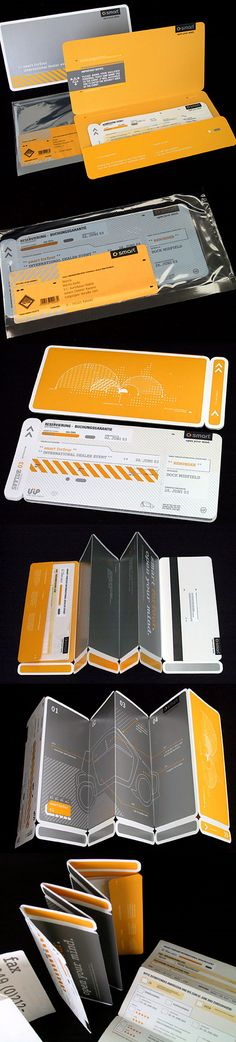 Airplane Tickets. Very innovative packaging, clean overall look. Great use of colors and plastics.