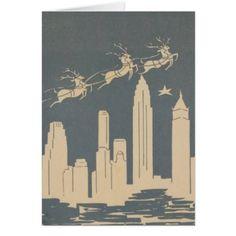 Flying Reindeer Over New York Skyline-Vintage Christmas Card-Greeting Blue Christmas, Retro Christmas, Christmas And New Year, Christmas Holidays, Magical Christmas, Winter Holiday, Christmas Stuff, Holiday Ideas, Christmas Decor