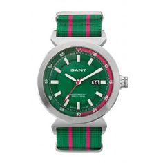 Reloj verde y fucsia