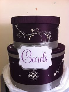 my Purple and Silver card box! :  wedding cardbox diy purple silver Photo -- extra fabric? @Rachel R Matzdorff
