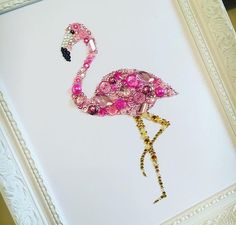 Flamingo Swarovski crystal button frame pink flamingoes tropical wall art flamingo picture tropical theme pink birds decoration girls gifts by Theshabbychicgeek on Etsy