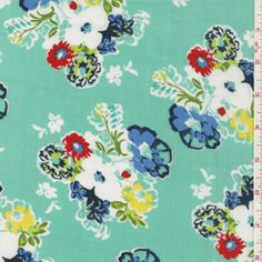 "Aqua Green, Periwinkle Blue, Navy, Yellow, Green, Lime, Tomato Red & WhiteTossed Floral Bouquet PrintLightweight Rayon Challis FabricSuitable for Blouses & Dresses100% Rayon55"" wideHand Wash Cold or Dry CleanUsually $12.00/yd                                                                                                                                				  								                                  $5.75                                  per                                  yard"