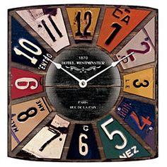 Licence Plates Wall Clock 31.5x35cm