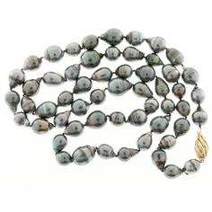 Black South Sea Cultured Pearl Baroque Gold Necklace  | From a unique collection of vintage more necklaces at https://www.1stdibs.com/jewelry/necklaces/more-necklaces/