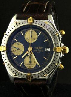 Breitling Windrider Chronomat B13048 SS/18K gold auto. men's watch w/ blue dial