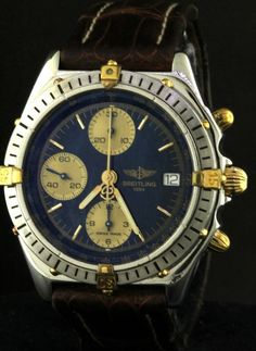 Breitling Windrider Chronomat B13048 SS/18K gold auto. men's watch w/ blue dial