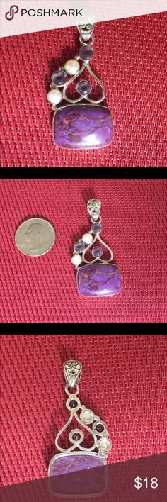 Sterling Silver Natural Stone Pendant Sterling 925. I'm not sure what center Stone is, Looks to be Purple Agate, pearls and amethyst.  New more Pendants shown, $18 each.  I'll work on posting individual pics. Jewelry Necklaces