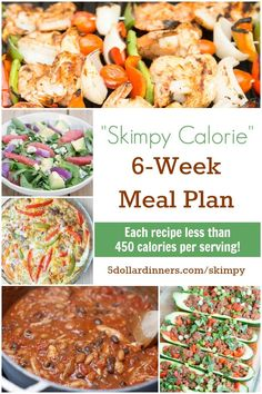 """The """"Skimpy Calorie"""" Meal Plan from $5 Meal Plan ~ perfect for anyone trying to eat healthy recipes!"""