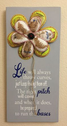 Life Will Always Throw Curves, Baseball/Softball Sign Decor, Inspirational Quote, Baseball and Softball Flower Yellow Softball and Baseball - pinned by pin4etsy.com