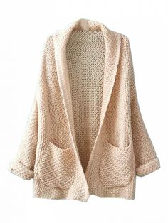 Beige Lapel Pocket Detail Open Front Long Sleeve Knit Cardigan Dresses #Tops #Swimwear #Jeans #Jackets #Skirts #Shoes