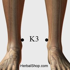 Name: Tai Xi Chinese Name: 太溪 Location: In the hollow midway between the protrusion of the inside anklebone and the Achilles tendon, which joins the back of the calf to the back of the heel. Benefits: balancing point, sore throat, toothache, deafness, hemoptysis, asthma, insomnia, impotence, frequency of urination, lower backache, swollen gums, palpitations, fear, emotions,