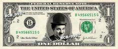CHARLIE CHAPLIN on REAL Dollar Bill - $1 Celebrity Collectible Custom Cash Money