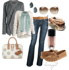 """""""Understated"""" by heismygod on Polyvore  I love this outfit from the jewelry down to the moccasins"""