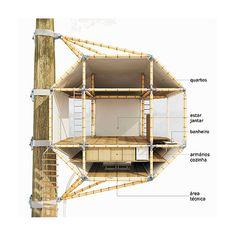 projeto: miguel pinto guimarães | com 61,4 m2, a casa pênsil tem três níveis: o primeiro guarda as funções de serviço; o segundo, os cômodos sociais; e o terceiro, os dormitórios