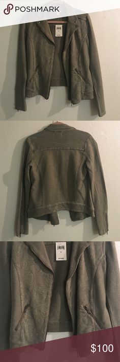 Green Fall Jacket #LuckyBrand Olive green jacket, two zipper pockets, zippers on the arm. Never worn brand new with tags! Lucky Brand Jackets & Coats