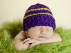 Plain and Striped Newborn Purple Hat