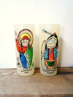 BILL LORES Humorous Indian Tumblers-Drinking Glasses- Caricature Drink Glasses- Native American- Chief-Warrior-Vintage Frosted Glass by OrphanedTreasure on Etsy