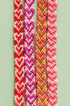 How to make a heart friendship bracelet - The House That Lars Built Bracelet Fil, Bracelet Crafts, Heart Bracelet, Bracelet Making, Diamond Bracelets, Bangles, Diy Friendship Bracelets Patterns, Handmade Bracelets, Favors