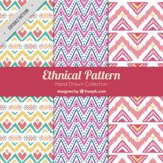 Set of ethnic ornamental patterns  Free Vector