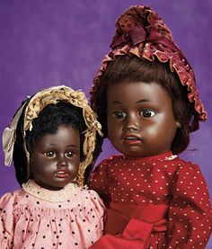 Older and Younger Sister German Brown-Complexioned Bisque Doll by Gebruder Kuhnlenz. Circa 1890. http://Theriaults.com