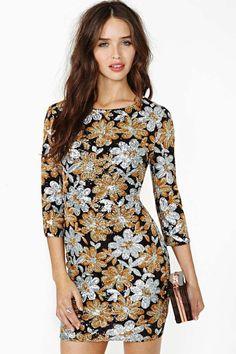 Midnight Flower Sequin Dress
