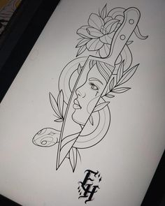 Pencil Art Drawings, Art Drawings Sketches, Tattoo Sketches, Tattoo Drawings, Sketch Tattoo Design, Tattoo Designs, Lilies Drawing, Knife Drawing, Trill Art
