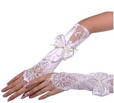 Yxjdress Women's Lace Bowknot Fingerless Wedding Gloves White,White,One Size
