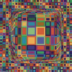 """Victor Vasarely was a Hungarian–French artist, who is widely accepted as a """"grandfather"""" and of the short-lived op art movement. Victor Vasarely, Similarities And Differences, Hidden Objects, French Artists, Op Art, Types Of Art, Optical Illusions, Art School, Fractals"""