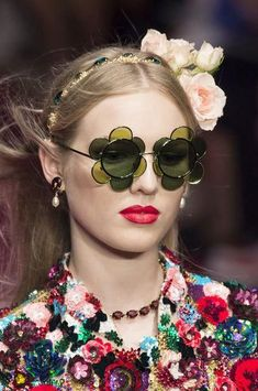 2f8a318dce4f Dolce   Gabbana at Milan Fashion Week Spring 2019 LittleSunnies.com Love  Novely Sunglasses