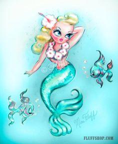 Tropical Baby bambola sirena - stampa artistica di ispirazione Vintage
