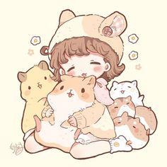 Kawaii Anime Girl, Loli Kawaii, Cute Anime Chibi, Kawaii Chibi, Kawaii Doodles, Cute Little Drawings, Cute Kawaii Drawings, Anime Girl Drawings, Cute Animal Drawings
