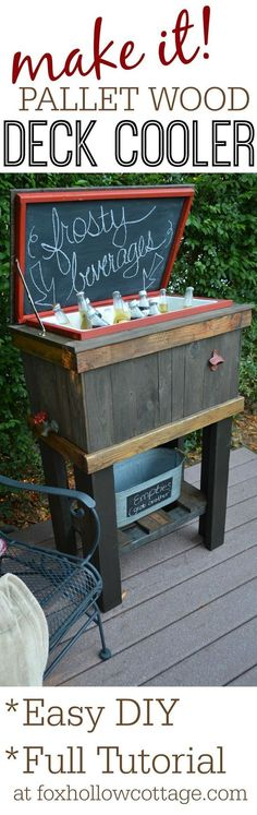 How-To Build A Wood Cooler Stand | DIY Weekend Pallet Project Idea for Porch Patio Deck or Tailgating! Full tutorial at foxhollowcottage.com: