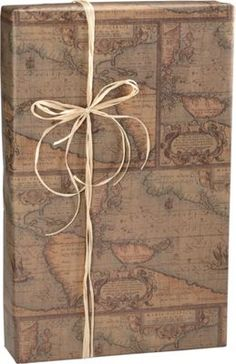 "World Map/Kraft Gift Wrap, 24"" x 100'"