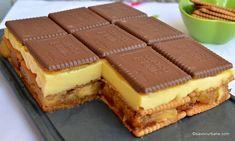prajitura cu mere biscuiti crema budinca vanilie Icebox Cake, Cake Bars, Easy Cake Recipes, Dessert Recipes, Good Food, Yummy Food, Sweet Cakes, No Bake Desserts, Bakery